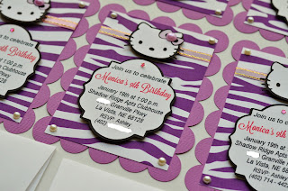 hello kitty purple zebra sadari birthday invitation theme