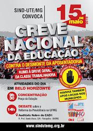 15/05 - Sind-UTE/MG convoca para dia de paralisação total de atividades e de manifestação.