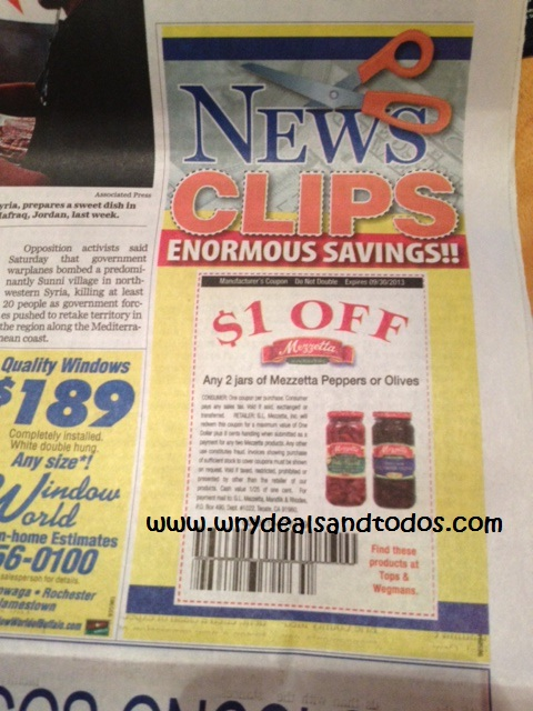 Finding coupons in the newspaper
