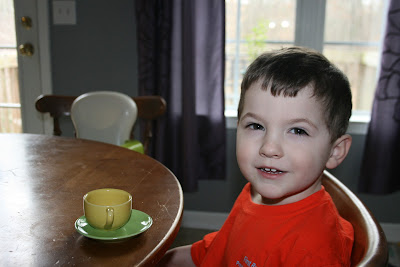 Montessori practical life tea serving toddler