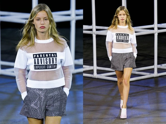 Alexander Wang Spring 2014 Parental Advisory Mesh And Jersey Sweatshirt