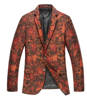 red velvet modern floral charming blazer for men