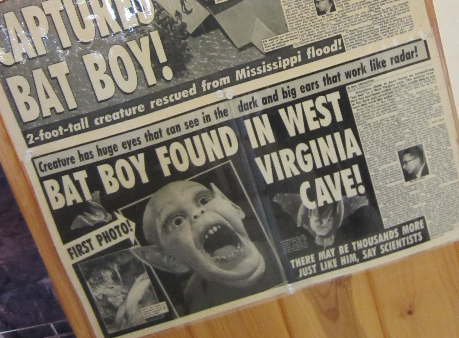 The startling discoveries did not end there. The Lost World Caverns was revealed to be the official home of that darling of the Weekly World News, BAT BOY!