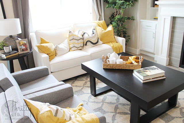 yellow, grey and white living room decor ideas