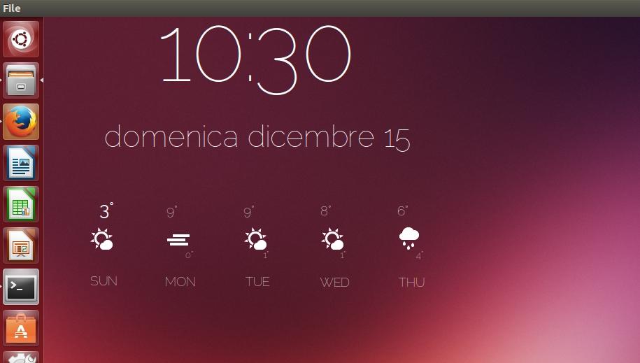 orologio e meteo sul desktop