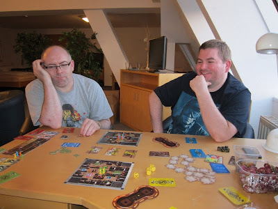Goblins Inc - Paul (left) looks glum whilst Andy (right) looks pretty happy with his situation in the game