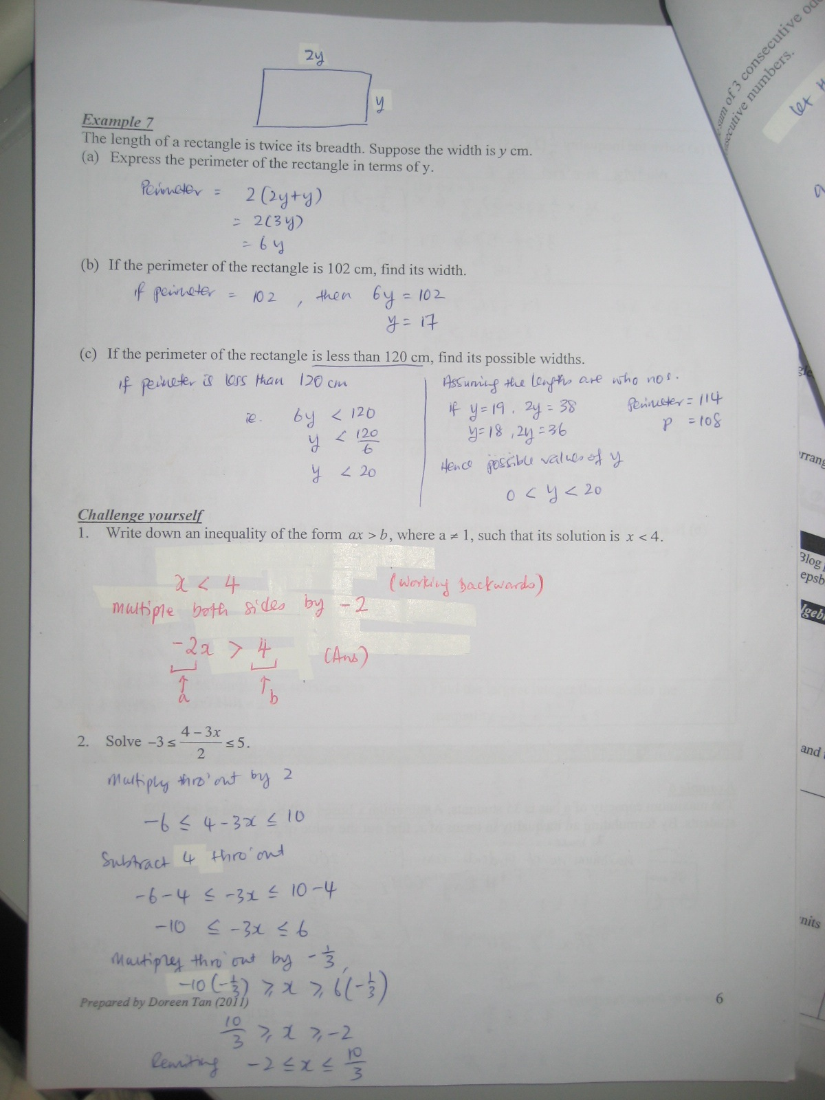 2011 S1 01 Maths Blog Inequalities Worksheet Challenge Yourself