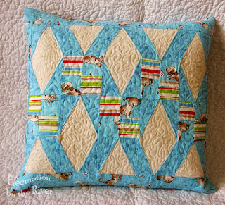 Happy Town Blues pillow at Freemotion by the River