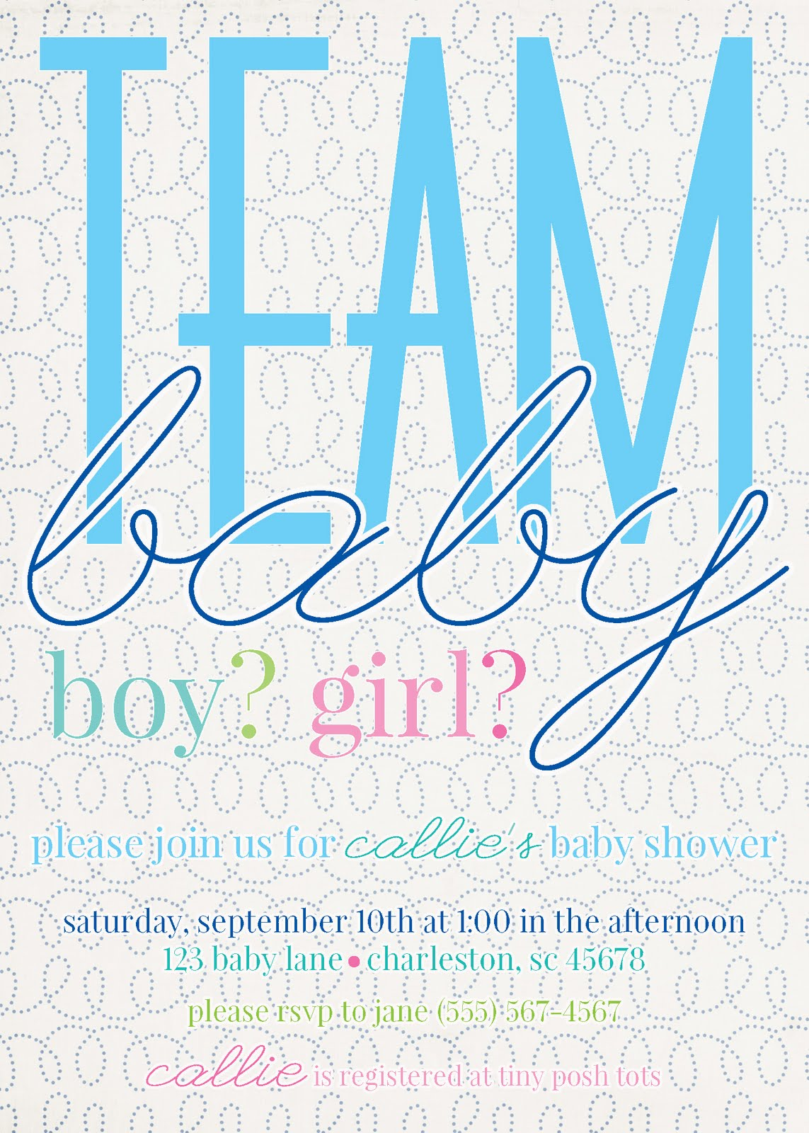 party box design gender reveal baby shower invitations