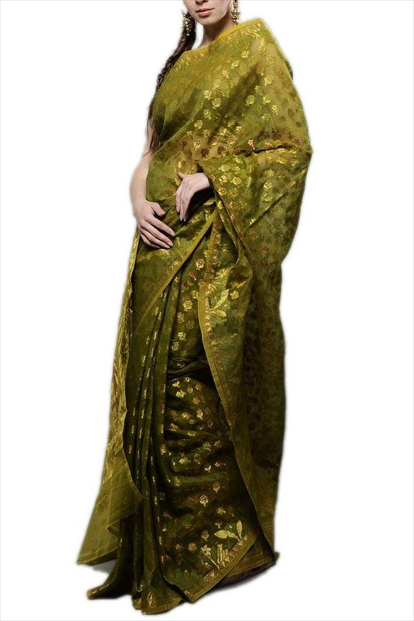Sap Green Net Saree