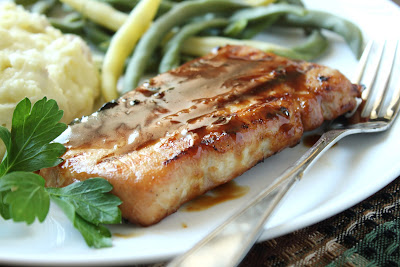 bourbon-glazed pork chops, mashed potatoes, green beans