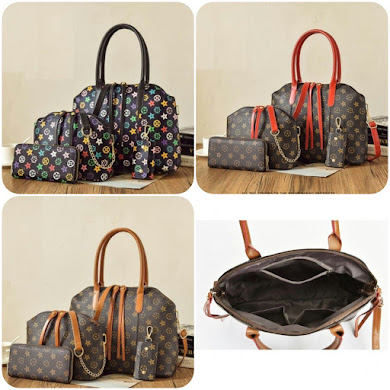 FASHION BAG ( 3 IN 1 SET ) - BROWN , BLACK , RED
