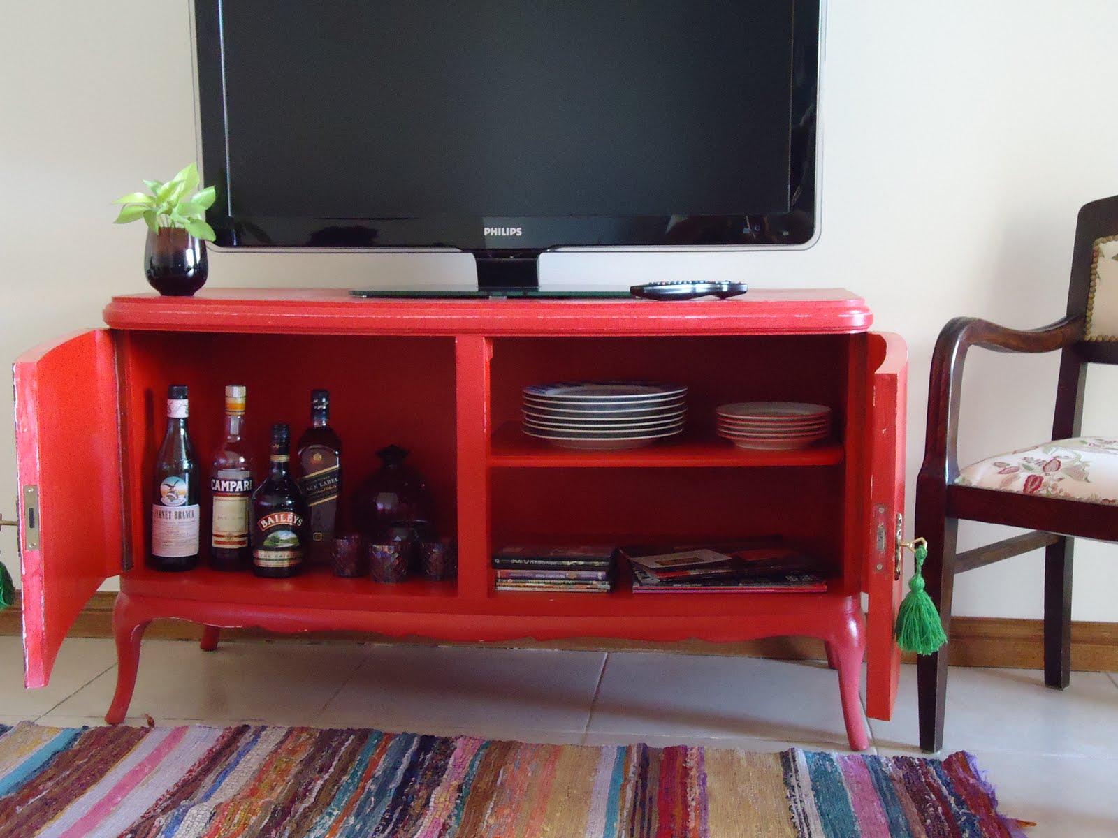 Vintouch muebles reciclados pintados a mano mueble rojo frances estante dos puertas - Mueble salon rojo ...