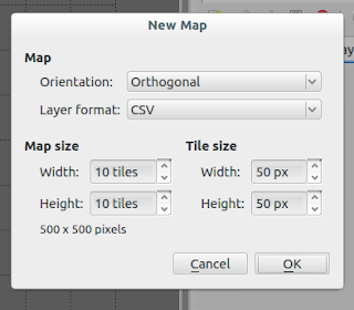 """We choose """"Orientation"""": """"Orthogonal"""", """"Layer format"""": """"CSV"""", """"Map size"""": 10x10 tiles and """"Tile size"""" 50x50px"""