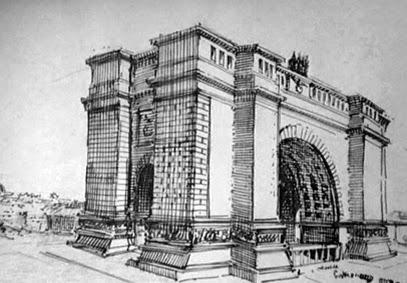 Boceto del Arco del Triunfo realizado por Hitler