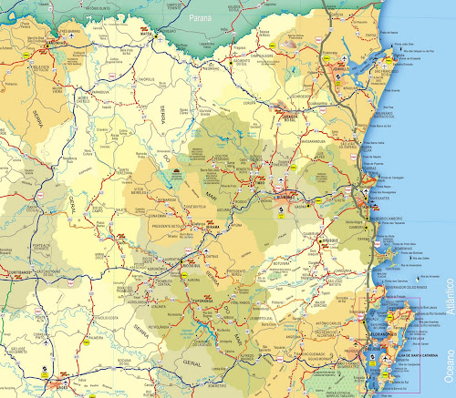Mapa do Litoral Norte de Santa Catarina