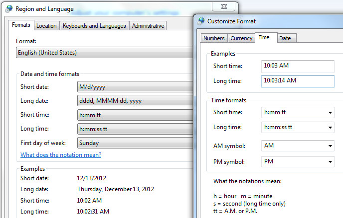 excel time format from region and language setting