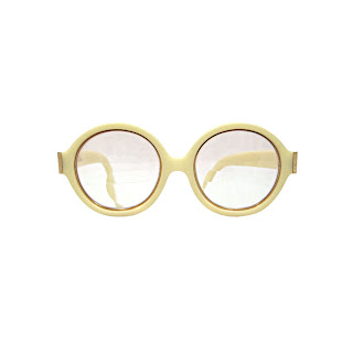 Vintage 1960's ivory colored round frame Christian Dior glasses.