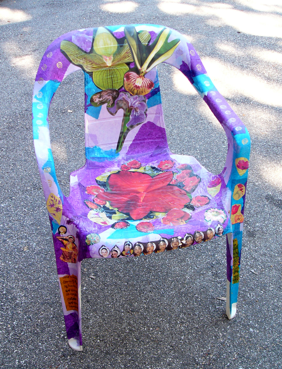 To transform an inexpensive plastic chair local artist Linda Levy teaches decoupaging. & The passionate maker: Project: Repainting a kitchen chair