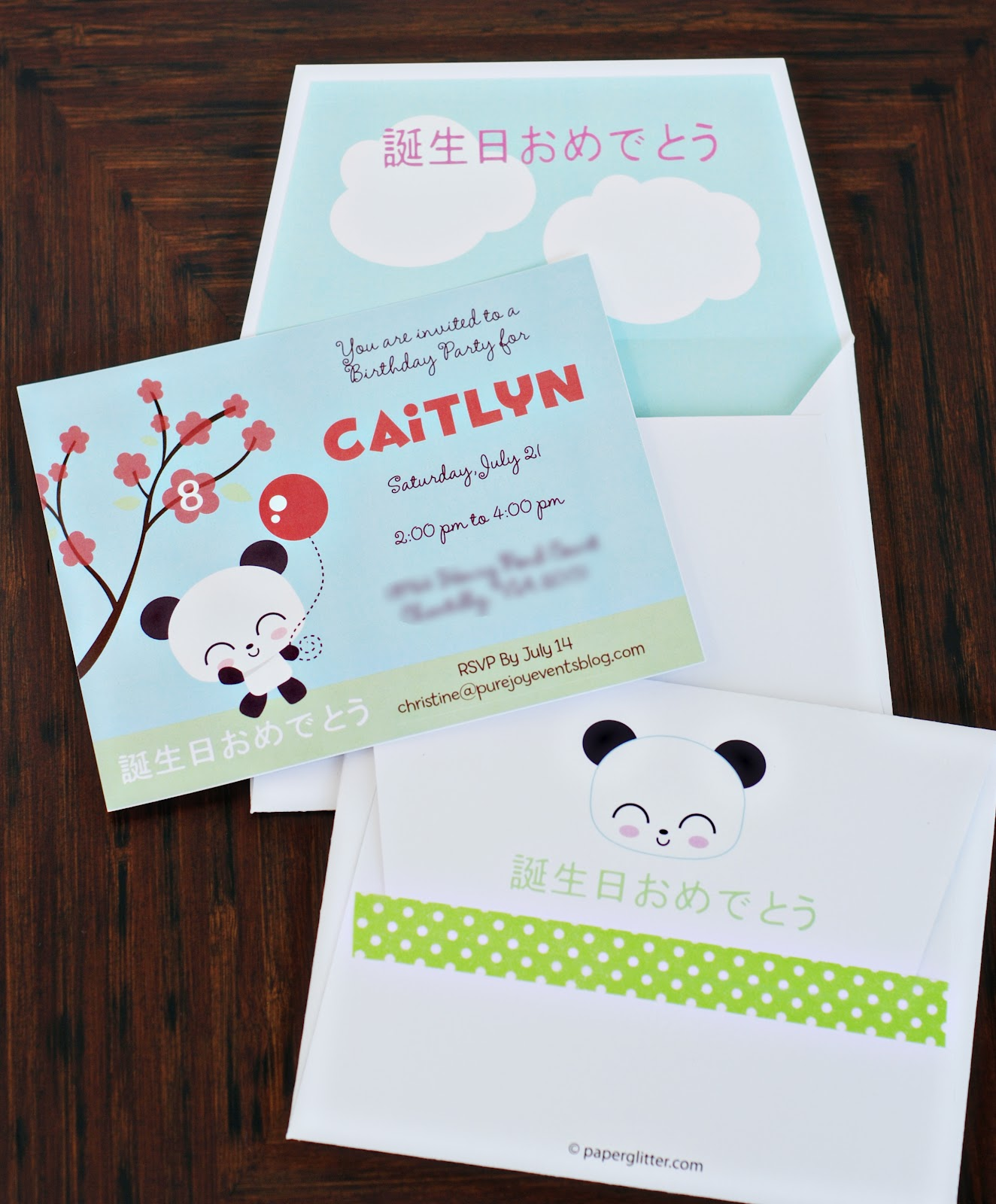 Pure Joy Events Kawaii Love Birthday Party Invitations – Japanese Birthday Invitations