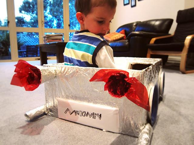 cardboard box car using tinfoil