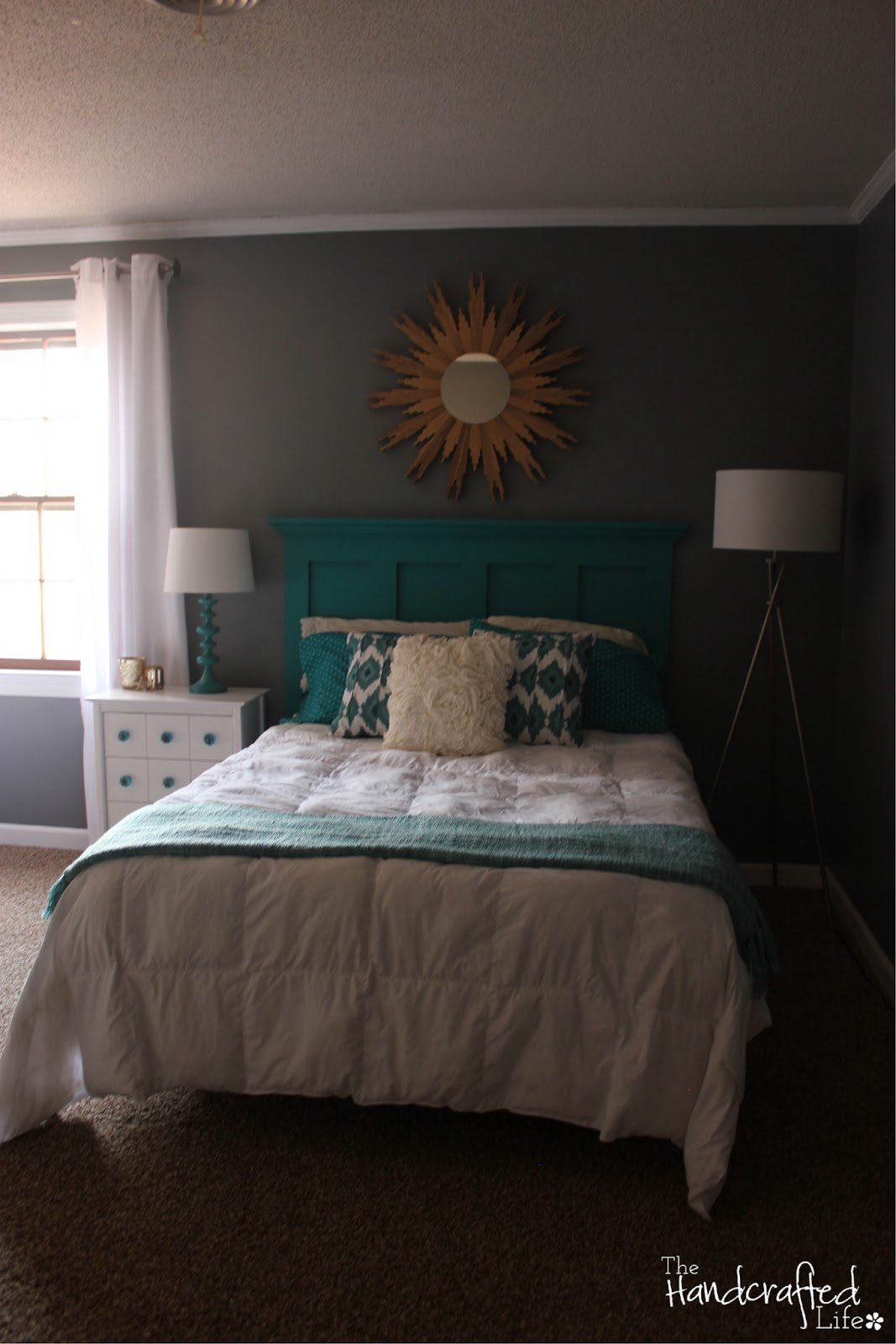 The handcrafted life teal white and grey guest bedroom for Teal bedroom