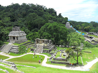 View of main plaza at Palenque in Mexico
