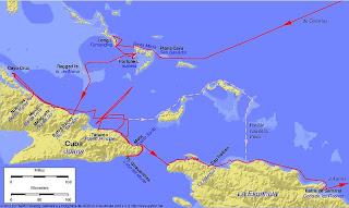mapa primer viaje colon