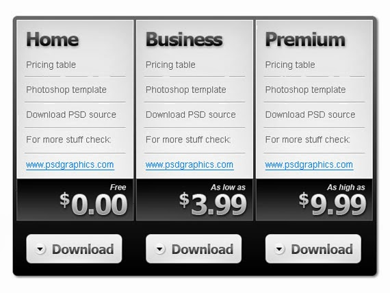 Black and white pricing table