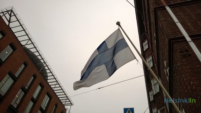 flying flag in Helsinki