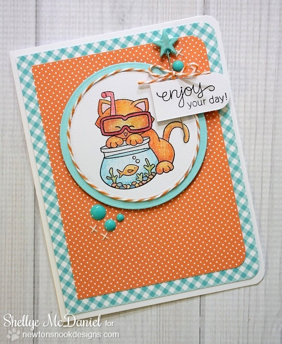 Kitty and Fish Bowl Card by Shellye McDaniel using Newton's Summer Vacation Cat Stamp set by Newton's Nook Designs