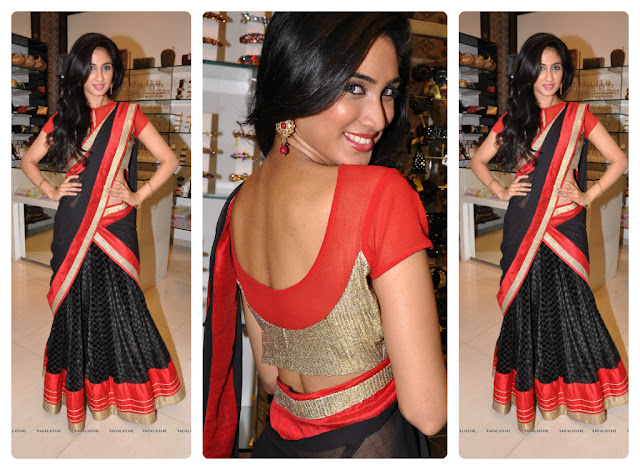 Half Saree Designers in Hyderabad http://www.southindiafashion.com/2013/05/model-in-half-saree.html