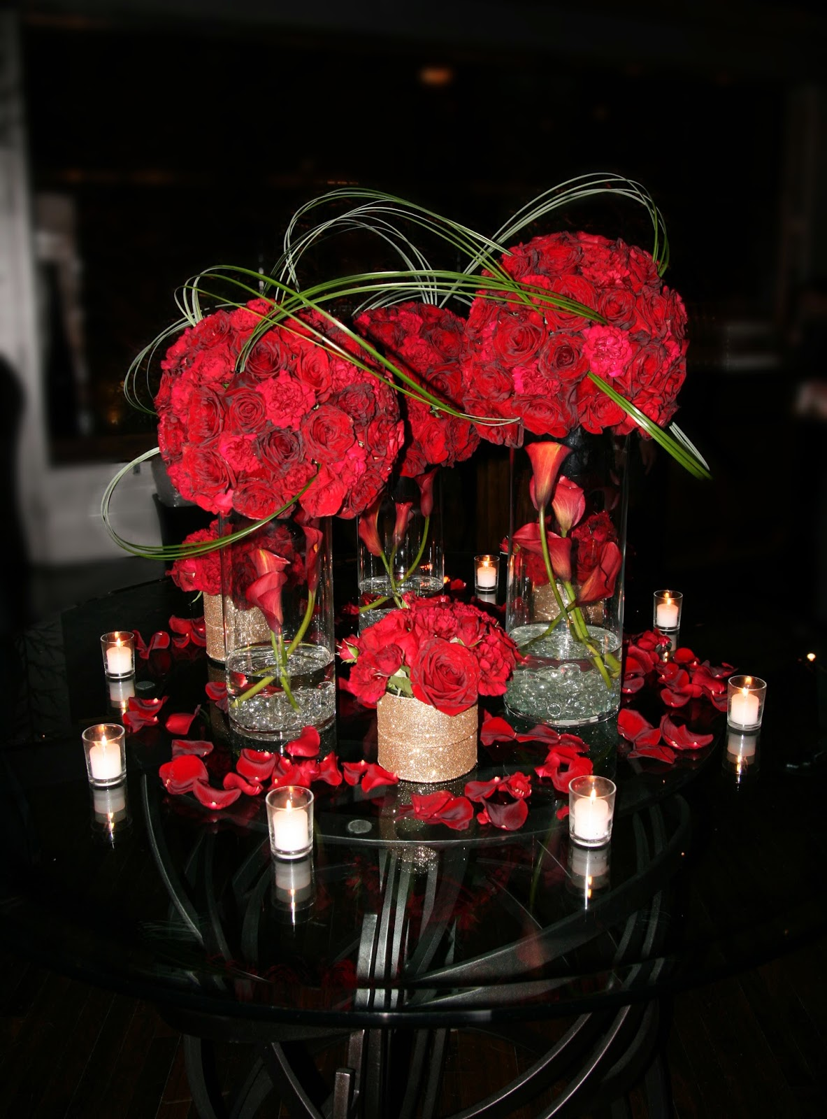 Candle lit winter wedding studio in bloom for Contemporary table centerpieces