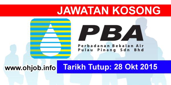 Jawatan Kerja Kosong Perbadanan Bekalan Air Pulau Pinang (PBAPP) logo www.ohjob.info oktober 2015