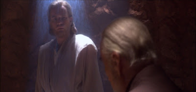 Obi-Wan being held in a force field by Count Dooku