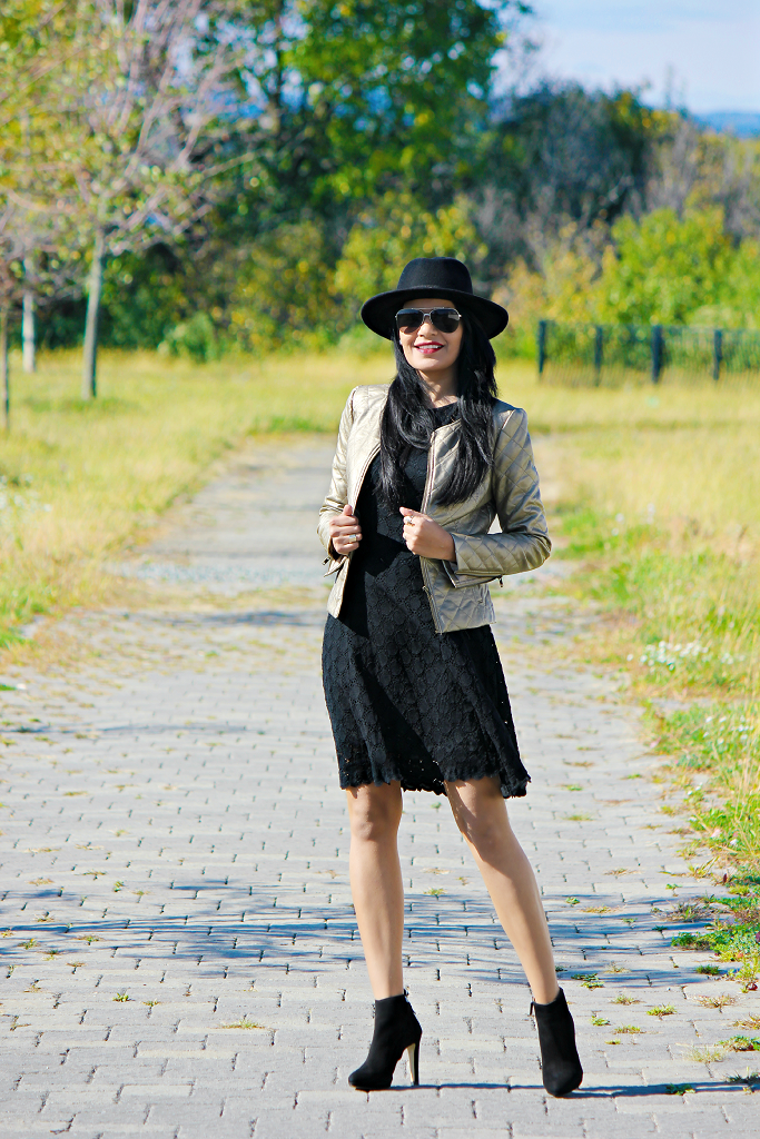 Black Lace Dress, Fall/Winter Looks With Dress, Felt Hat For Winter, Vegan Leather Jacket, Lace Dresses For Holidays, Black Lace Dress
