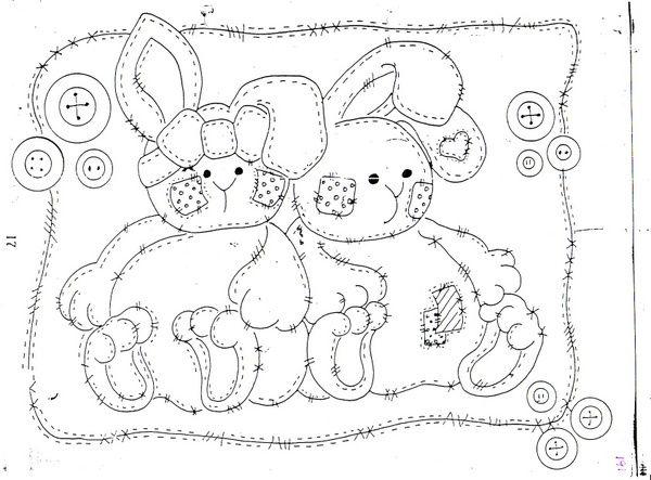 Mi coleccin de dibujos  Dulces conejitos para colorear