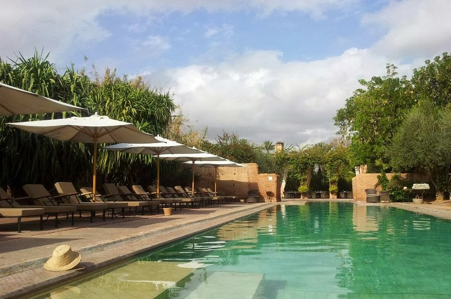 The heated pool of the hotel Les Deux Tours in Marrakech, in january...
