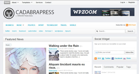 CadabraPress - Magazine WordPress Theme Free Download by Wpzoom.