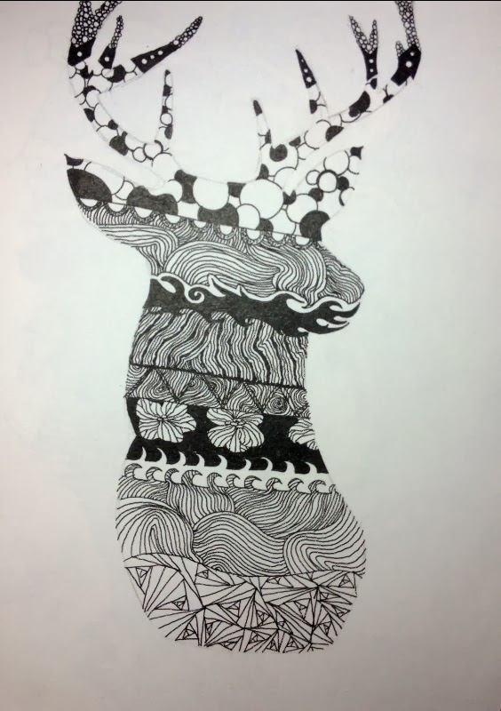 picture of a deer filled with zentangle patterns