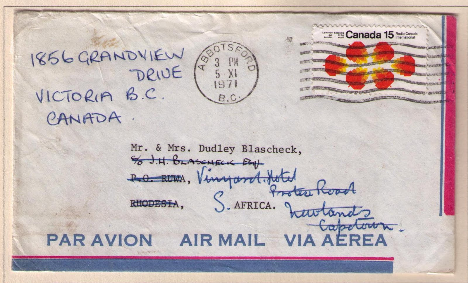 abbotsford to ruwa rhodesia november 5 1971 15 cents international air mail letter rate re directed to south africa then to canada