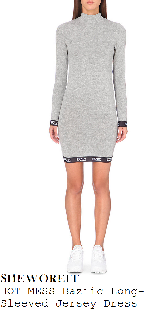 jorgie-porter-grey-baziic-print-long-sleeve-turtleneck-mini-dress