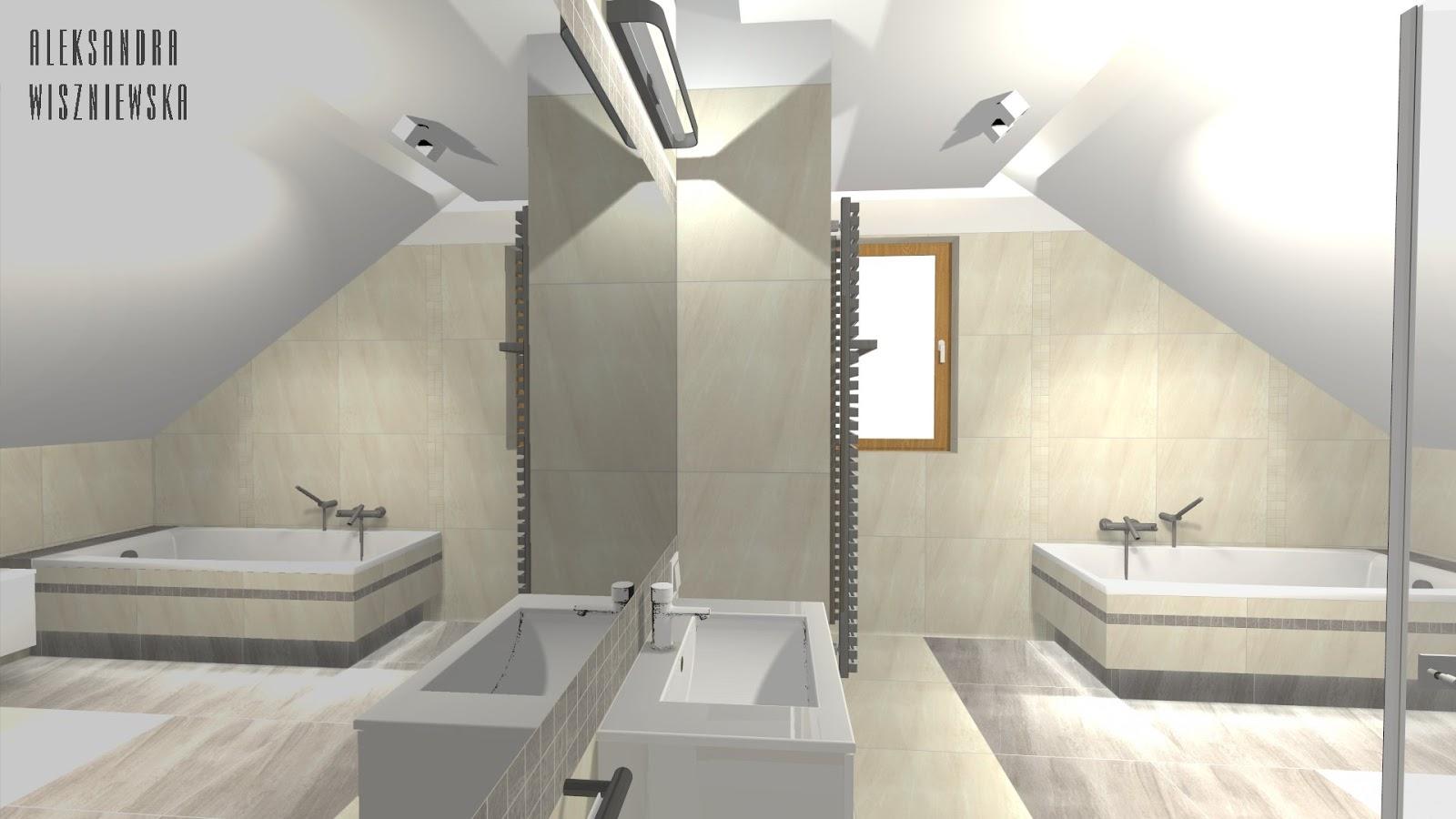Projekty łazienek Wizualizacje Paradyż Masto Bianco Na Poddaszu