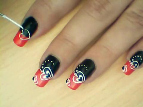 Manikir-obuka-tutorijal-3-(crveno-crni-nail-art-nokti)-005