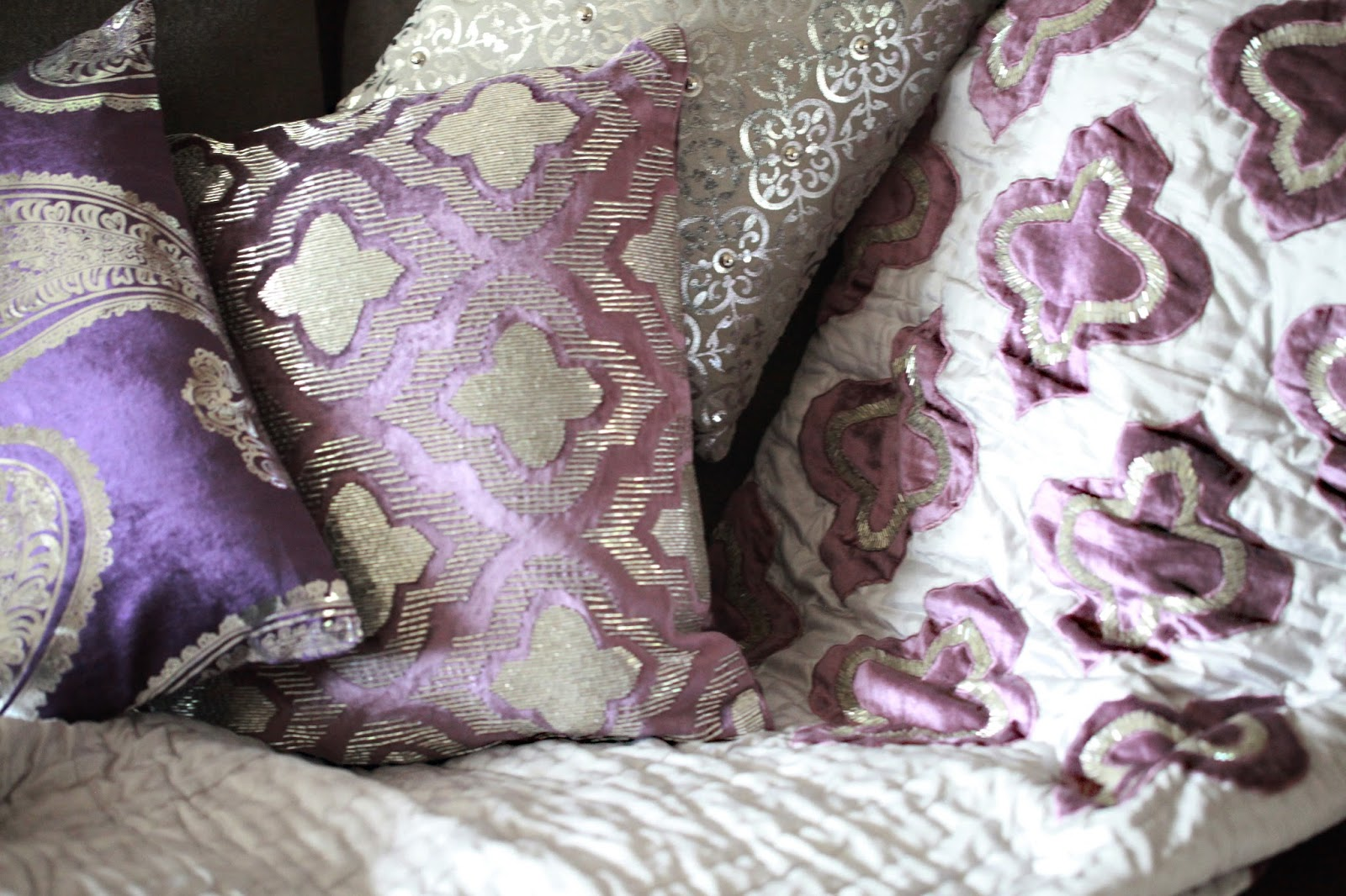 Purple Vintage Inspired Embellished Cushions