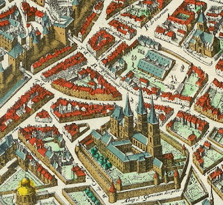 """Abbey and Foire Saint-Germain - detail 1615 Mérian map of Paris"" by Matthäus Merian (1593–1650), painter, copper engraver - Detail of File:Plan de Mérian.jpg. Licensed under Public Domain via Wikimedia Commons - http://commons.wikimedia.org/wiki/File:Abbey_and_Foire_Saint-Germain_-_detail_1615_M%C3%A9rian_map_of_Paris.jpg#/media/File:Abbey_and_Foire_Saint-Germain_-_detail_1615_M%C3%A9rian_map_of_Paris.jpg"