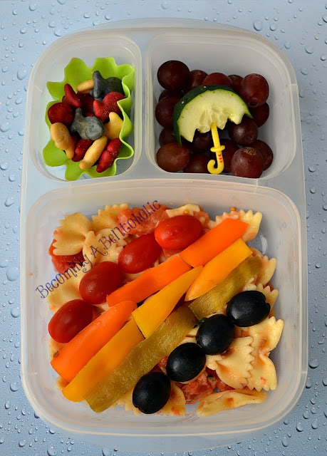 rainbow, bento, vegetarian, leftover pasta, goldfish, easylunchboxes, umbrella, school lunch