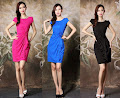 Short Sleeve Simple 3-Floral Ruffle Drape Dress