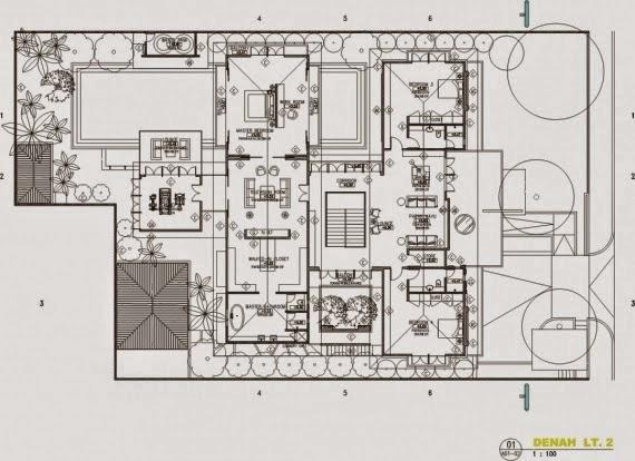 contoh Denah Rumah Mewah 1 Lantai