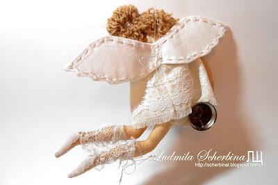 интерьерная текстильная кукла летящий ангел